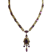 Antique Victorian Amethyst Paste Pendant Necklace