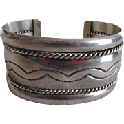 Native American Sterling Silver Wide Cuff Bracelet Signed TAHE