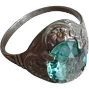 Vintage1930's Sterling Silver Aquamarine Paste Ring