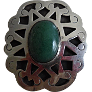 Beautiful Vintage Mexican Sterling Green Stone Pin