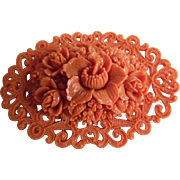 Vintage Molded Celluloid Coral Colored Pin