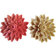 Vintage Molded Celluloid Coral & Ivory Colored Water Lily Pins