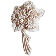 Vintage Molded Celluloid Ivory Colored Nosegay Pin