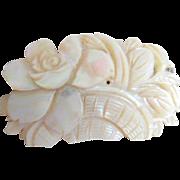 Vintage Mother of Pearl Basket of Flowers Pin