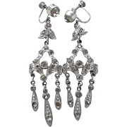 1920's Art Deco Clear Paste Flapper Chandelier Screw Back Earrings