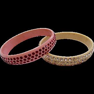 1920's Art Deco Paste Pink & Ivory Celluloid Bangle Bracelets