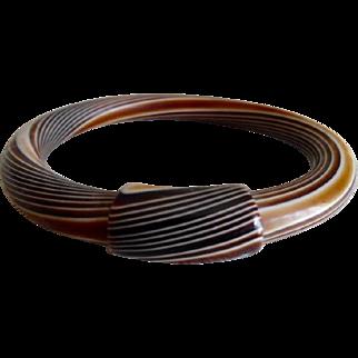 1930's Rootbeer Multi Color Swirl Celluloid Bangle Bracelet