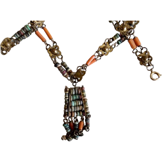 1920's Egyptian Revival Coral & Faience Tassel Necklace