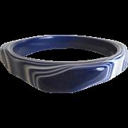 Vintage Carved Lucite Plastic Blue & White Bracelet