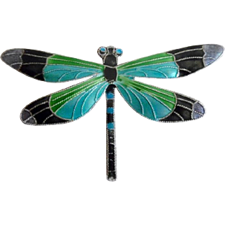 Vintage Sterling Silver Enamel Dragon Fly Necklace