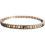 Antique Edwardian Gold Filled Peridot Paste Fancy Hinged Bangle Bracelet
