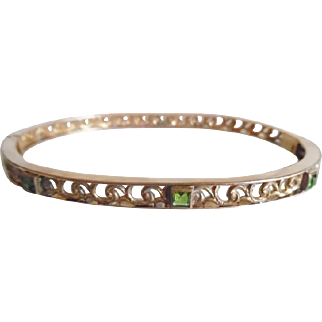Antique Edwardian Gold Filled Peridot Paste Fancy Hinged Bangle Bracelet