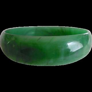 Vintage Marbled Translucent Green Lucite Bangle Bracelet