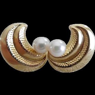 Vintage 14K Cultured Pearl Post Earrings