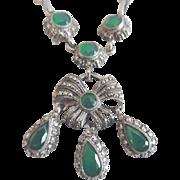 Vintage Swedish Sterling Faceted Chrysoprase Marcasite Necklace