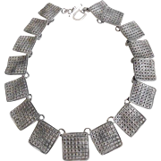 Modernist Solid Sterling Silver Waffle Necklace