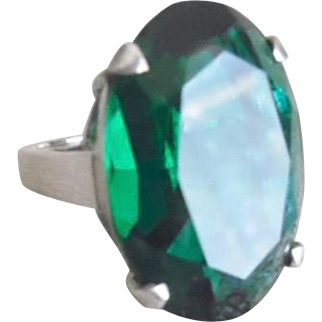 Vintage Huge Sterling Silver Green Paste Stone Cocktail Ring