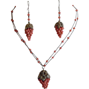 Antique Edwardian Pink Coral Beads Grapes 800 Silver Necklace & Earrings Set