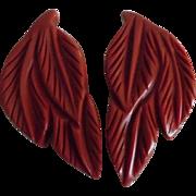 Vintage Deeply Carved Deep Red Bakelite Leaf Clip Set
