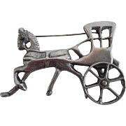 Vintage Mexican Sterling Horse & Cart Pin