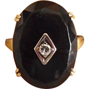 Vintage Art Deco 14K Faceted Black Onyx & Diamond Ring