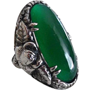 Antique Arts & Crafts Sterling Chrysoprase Ring Signed Wachenheimer
