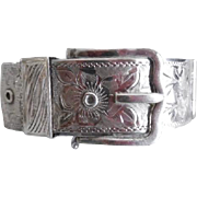 English Sterling Silver Chased Wide Buckle Bracelet