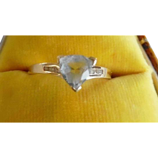 Vintage Italian 14K Aquamarine & Diamonds Ring