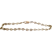 Vintage 14K solid Gold Puffy Mariner Link Bracelet