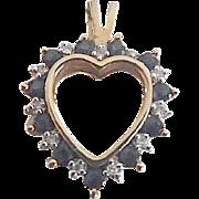 Pretty 10K Yellow Gold Sapphire & Diamond Heart Pendant/Charm