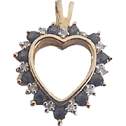 Pretty 10K Yellow Gold Sapphire & Diamond Heart Pendant/Charm