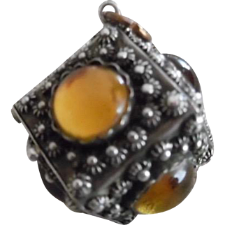 Vintage Italian 800 Silver Yellow Glass Large Etruscan Style Charm Opens