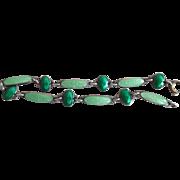 Unusual Aksel Holmsen Guilloche Sterling Silver Green Enamel Bracelet