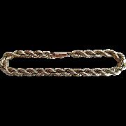 Vintage 14K Solid Gold Rope Chain Bracelet