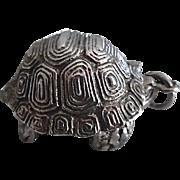 Vintage Sterling Silver Large Turtle Pendant Box