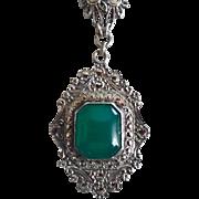 Vintage Art Deco Sterling Silver Chrysoprase Marcasite Pendant Necklace 1920's