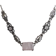 Vintage Art Deco Sterling Silver Pink Quartz Marcasite Necklace 1920's