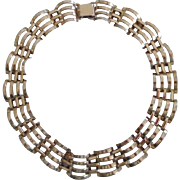 1930's Art Deco Sterling Vermeil Curved Link Necklace