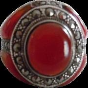 Vintage Sterling Silver Carnelian Marcasite Ring Signed MRF