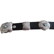 Vintage Sterling Silver Turquoise Navajo Concho Belt