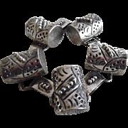 Early Vintage Sterling Silver Mexican Barrel Bracelet