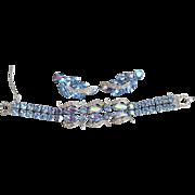 Vintage 1950-60's Signed WEISS Blue Aurora Borealis Rhinestone Bracelet & Earring Set