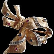 Vintage 1950-60's JOMAZ Fancy Stylized Rhinestone Ribbon Pin