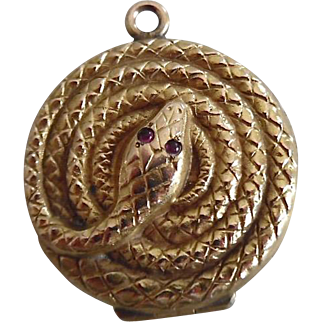 Antique Victorian Gold Plated Serpent/Snake Locket