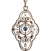 Antique Victorian 14K/ 585 Gold Blue Topaz Seed Pearl Pendant