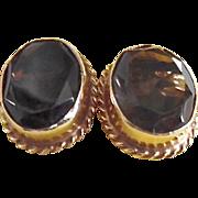 Vintage 14k Gold Faceted Smoky Quartz Earrings