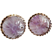 Vintage 14K Gold Carved Amethyst Chinese Export Screw Back Earrings