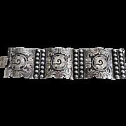 1940-50's Mexican Sterling Silver Wide Panel Link Bracelet