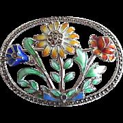 Vintage Sterling Silver Enamel Marcasite Floral Pin