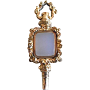Antique Victorian Rolled Gold Plate White Chalcedony Watch Key Fob
